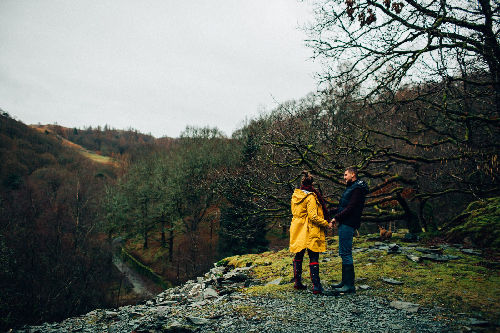 couple looking away at the landscape of lake district