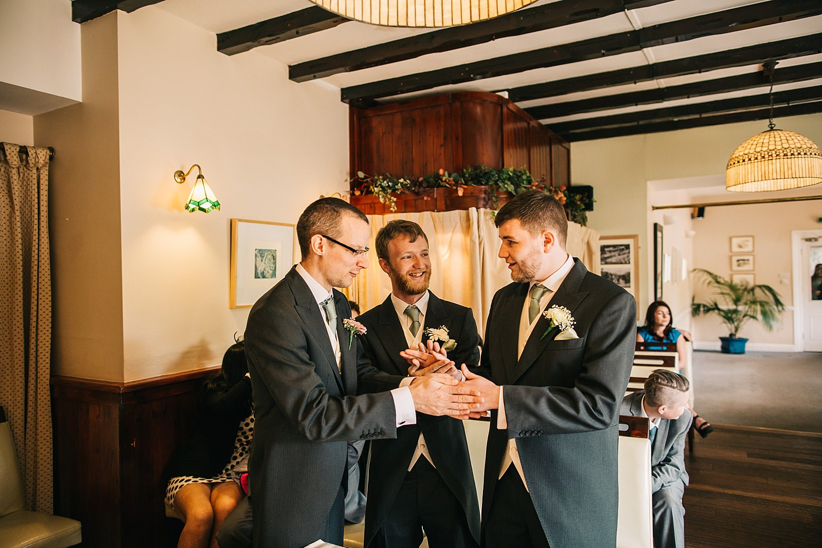 groom and groomsmen before the ceremony at the walnut tree inn