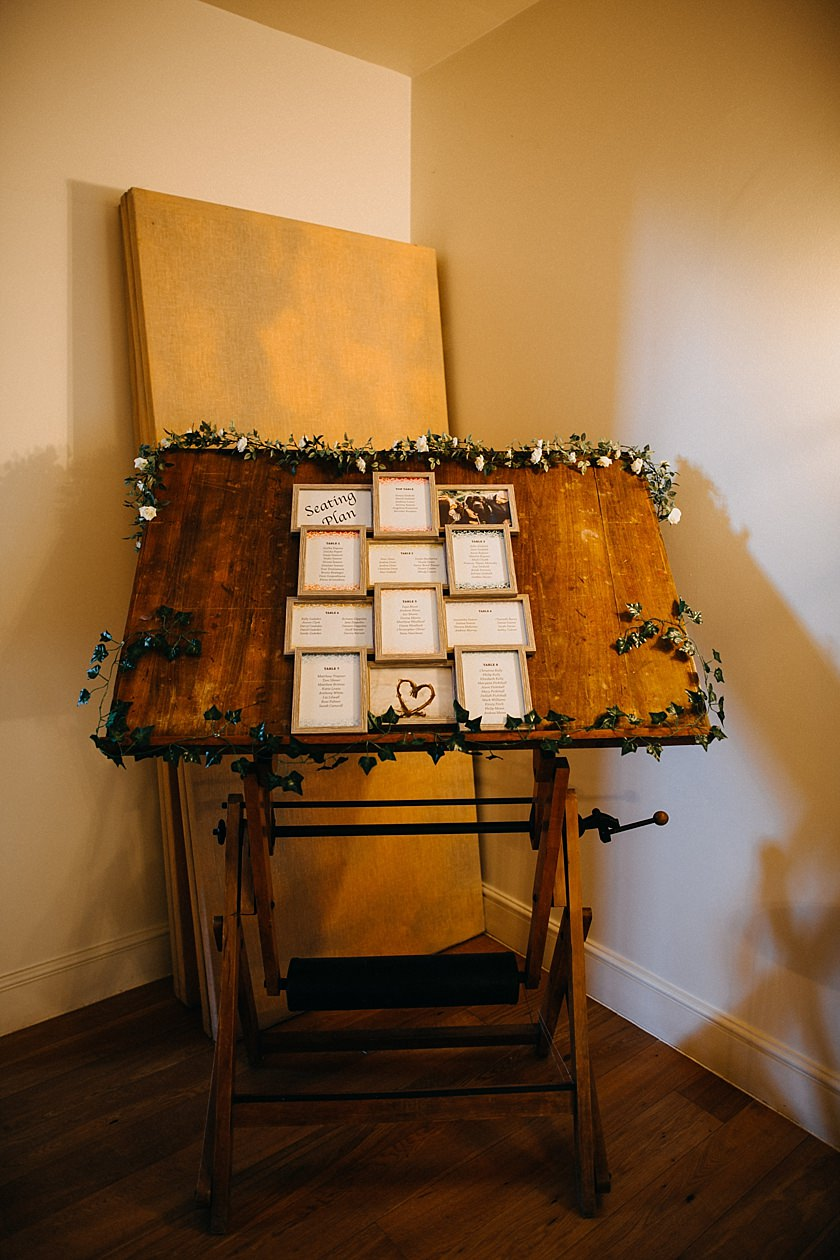 seating plan photographed by Wedding Photography At The Granary Estates