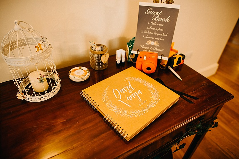 wedding book and polaroid on the table