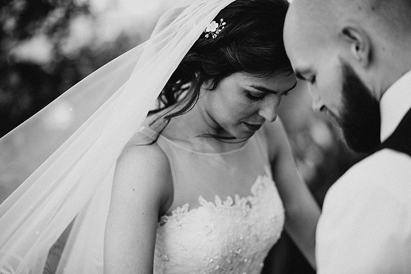 close up of brides face with closed eyes