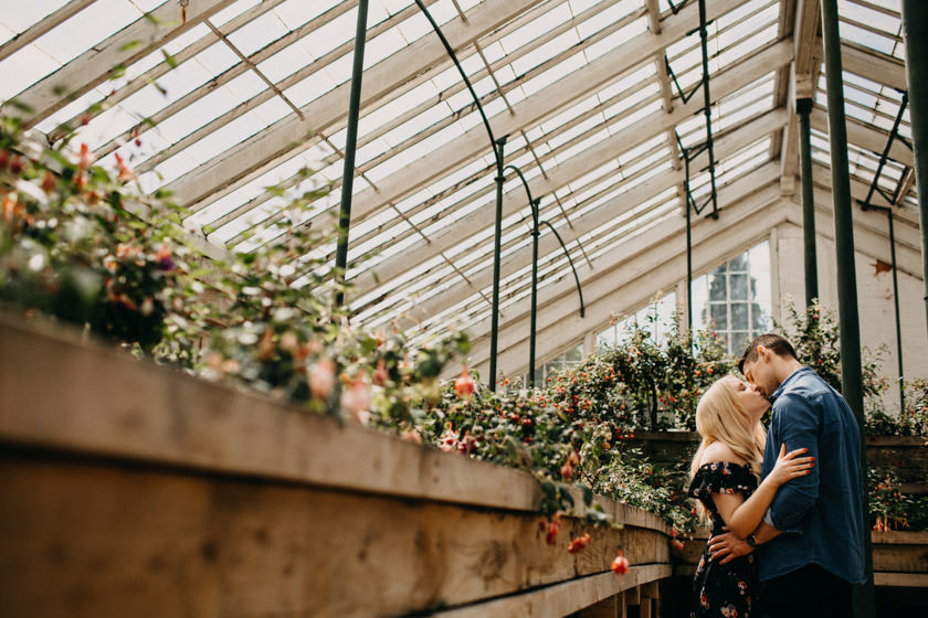 boy and girl at Castle Ashby Gardens Pre Wedding Shoot kissing