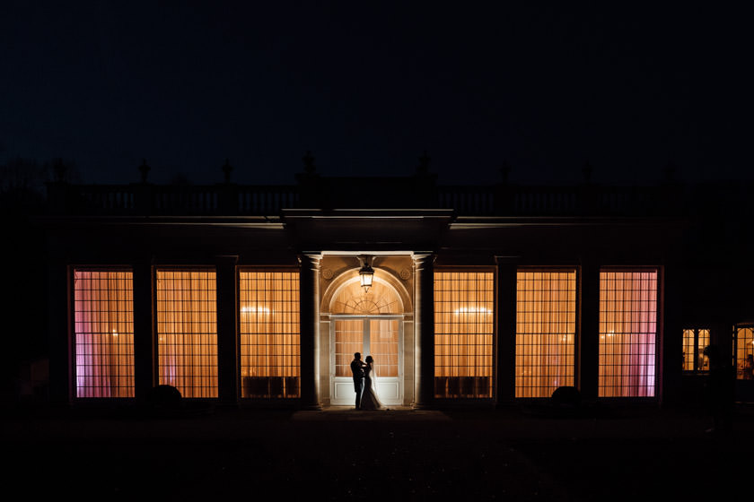 Rushton Hall Wedding Photographer orangery at night