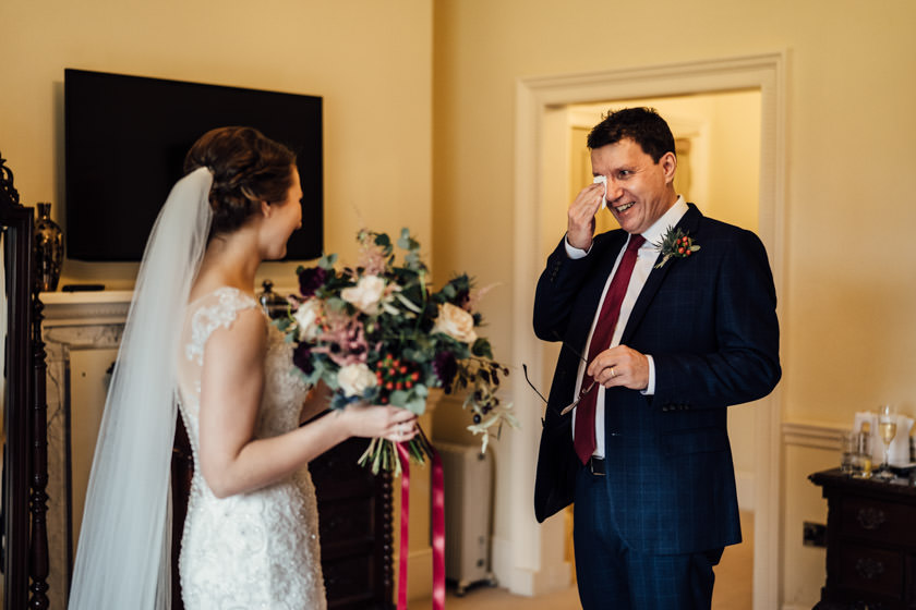 father crying seeing his bride daughter for the first time at offley place wedding