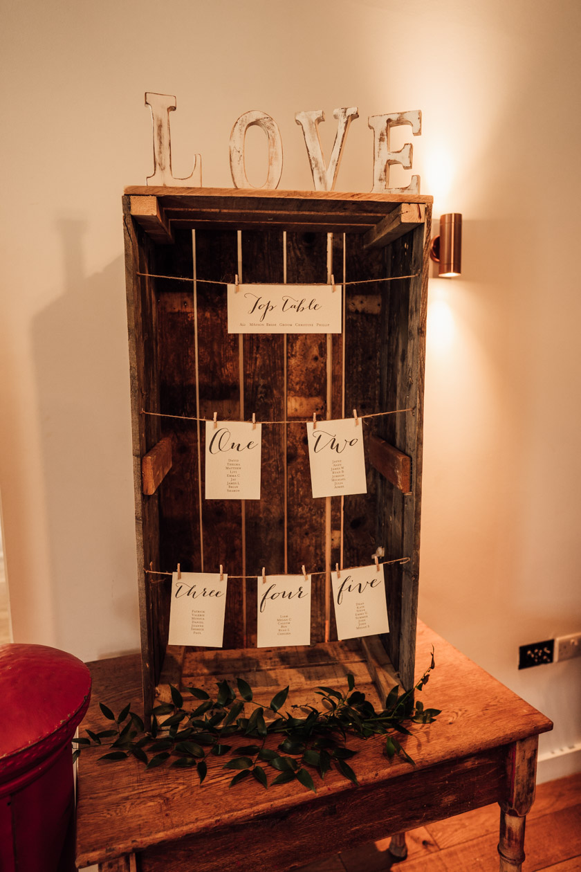 seating plan arrangement on a wooden box