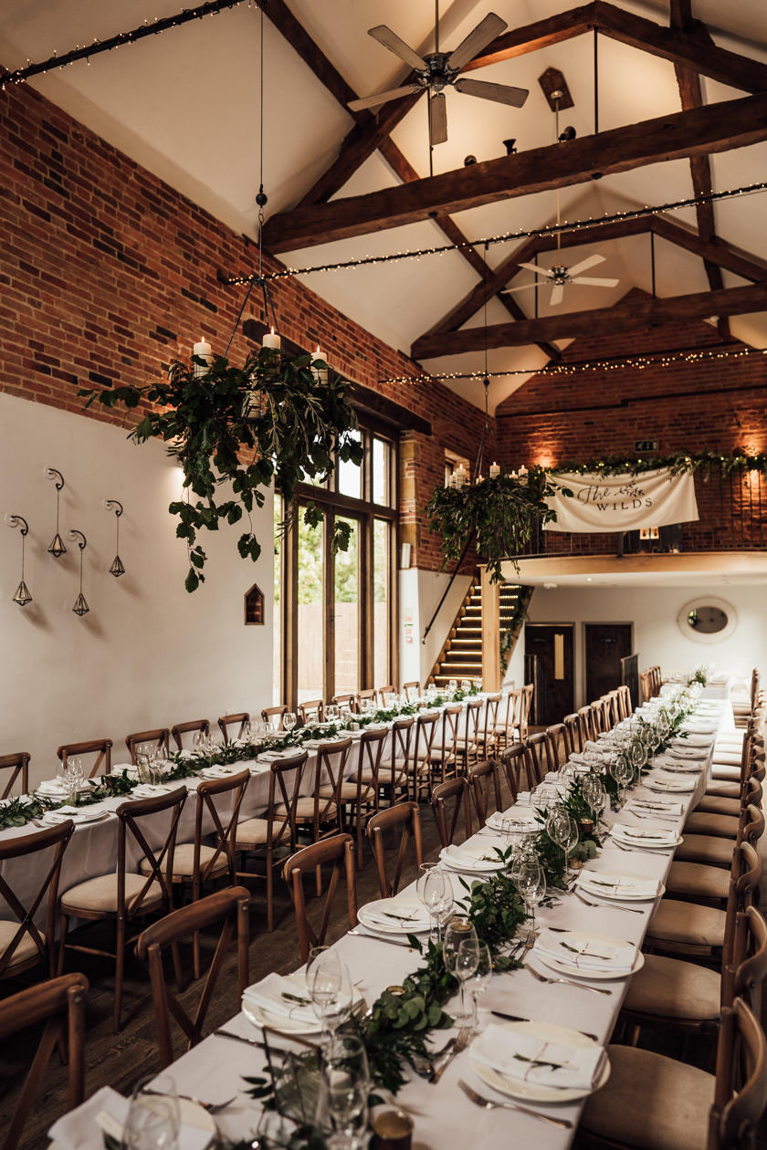 long table decorations at barn at Dodmoor House