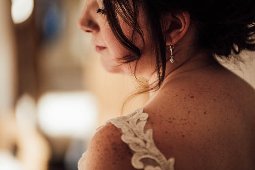 close up portrait of a bride